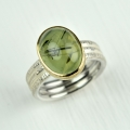 silver and 18ct gold with rutillated prehnite