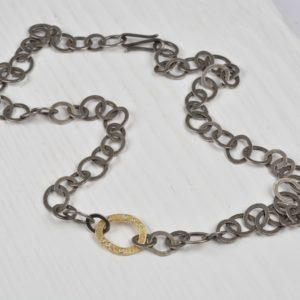 oxidised sterling silver and 18ct gold necklace with diamonds