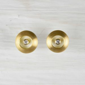 18ct gold and sterling silver earrings with diamonds