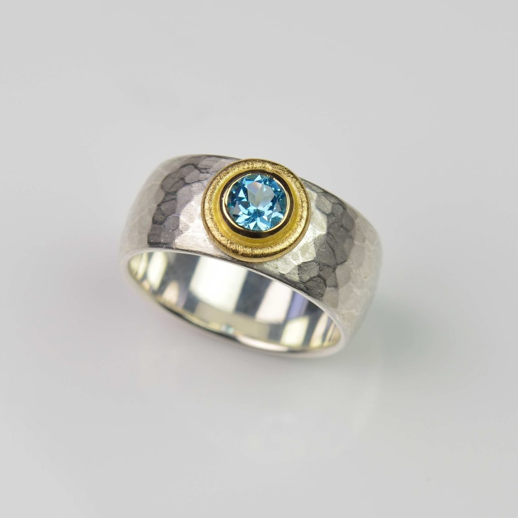sterling silver and 18ct gold ring with topaz