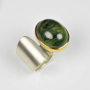 sterling silver and 22ct gold ring with rutile prehnite