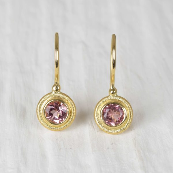 18ct gold earrings with pink tourmaline