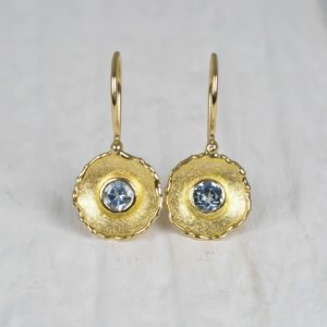 18ct gold earrings with aquamarines