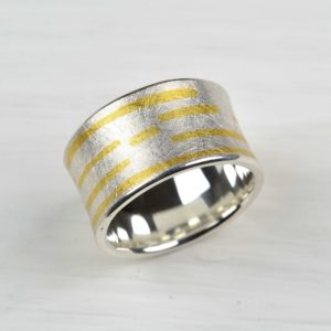 sterling silver and fused fine gold ring