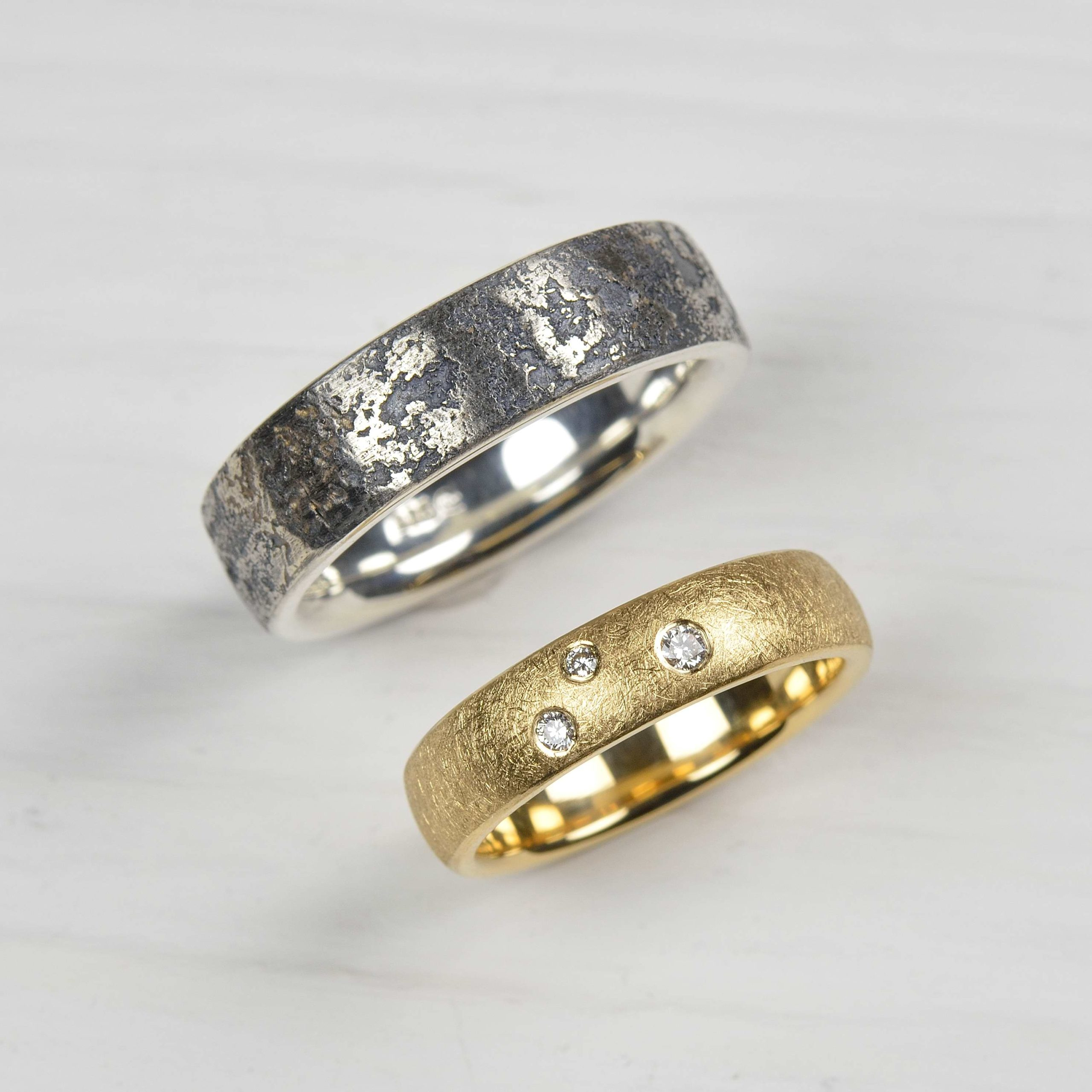 sterling silver and platinum ring, 18ct gold ring with diamonds
