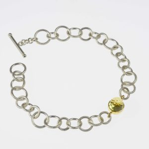 sterling silver and 18ct gold bracelet with lemon quartz