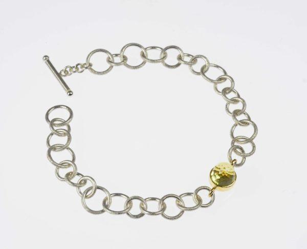 sterling silver and 18ct gold bracelet with lemon quartz