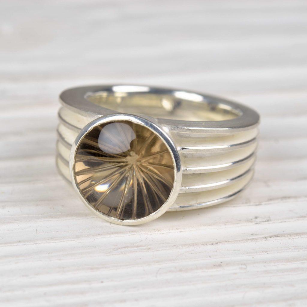 sterling silver ring with smokey quartz