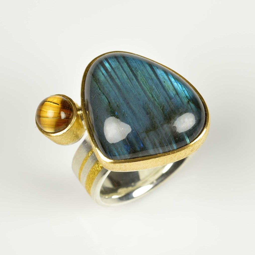 sterling silver, finegold and 18ct gold ring with labradorite and rutile quartz