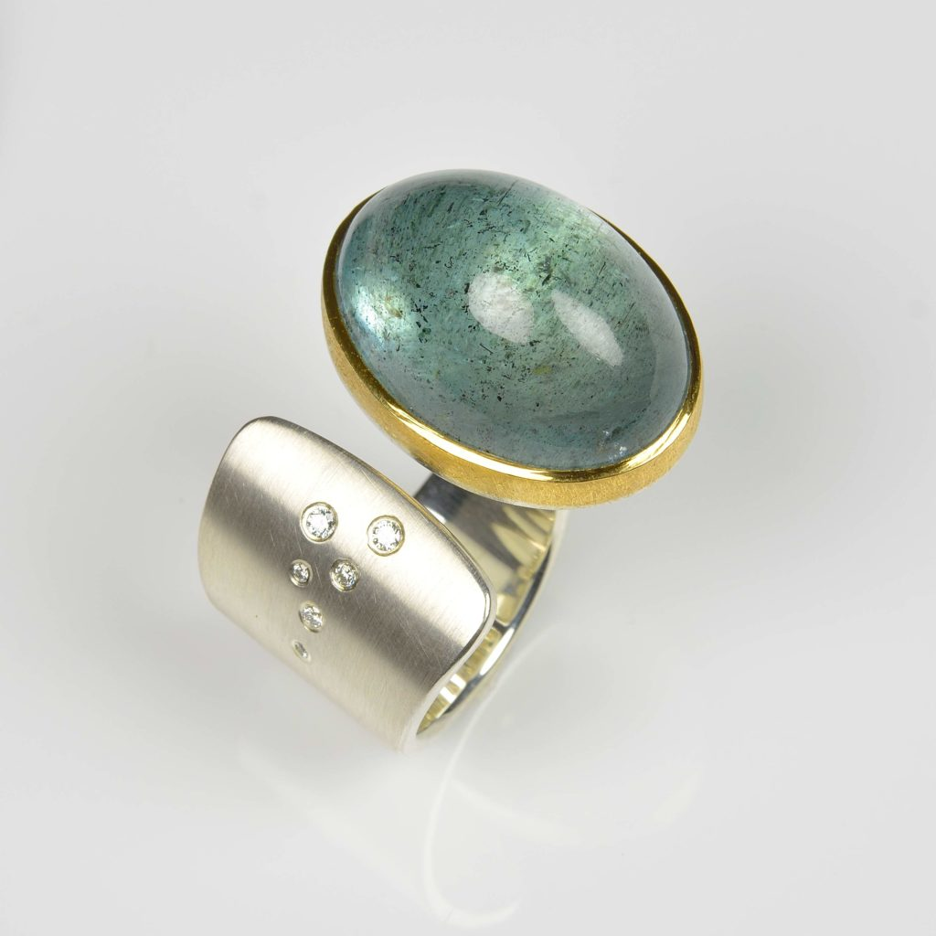 sterling silver and 22ct gold ring with moss aquamarine and diamonds