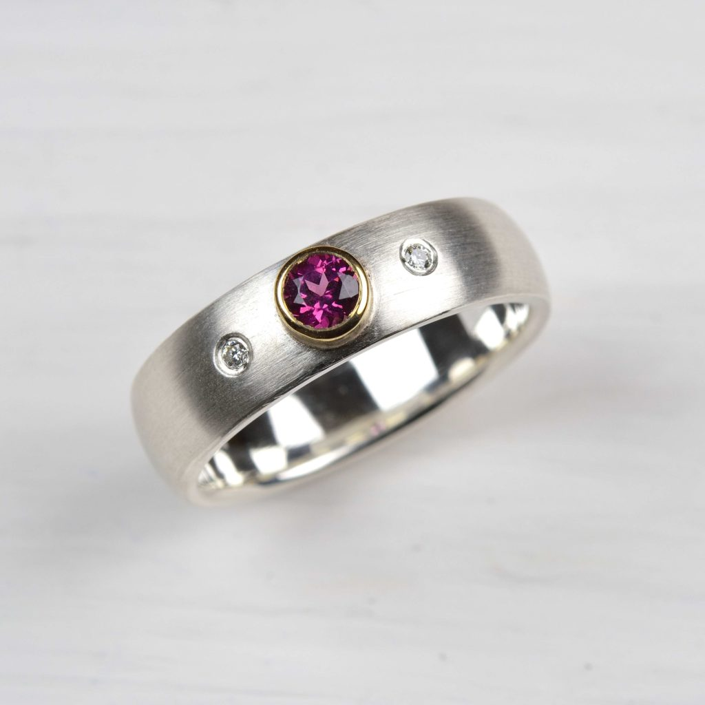 sterling silver and 18ct gold ring with rhodolite and diamonds