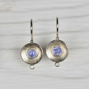 18ct white gold earrings with tanzanites and diamonds