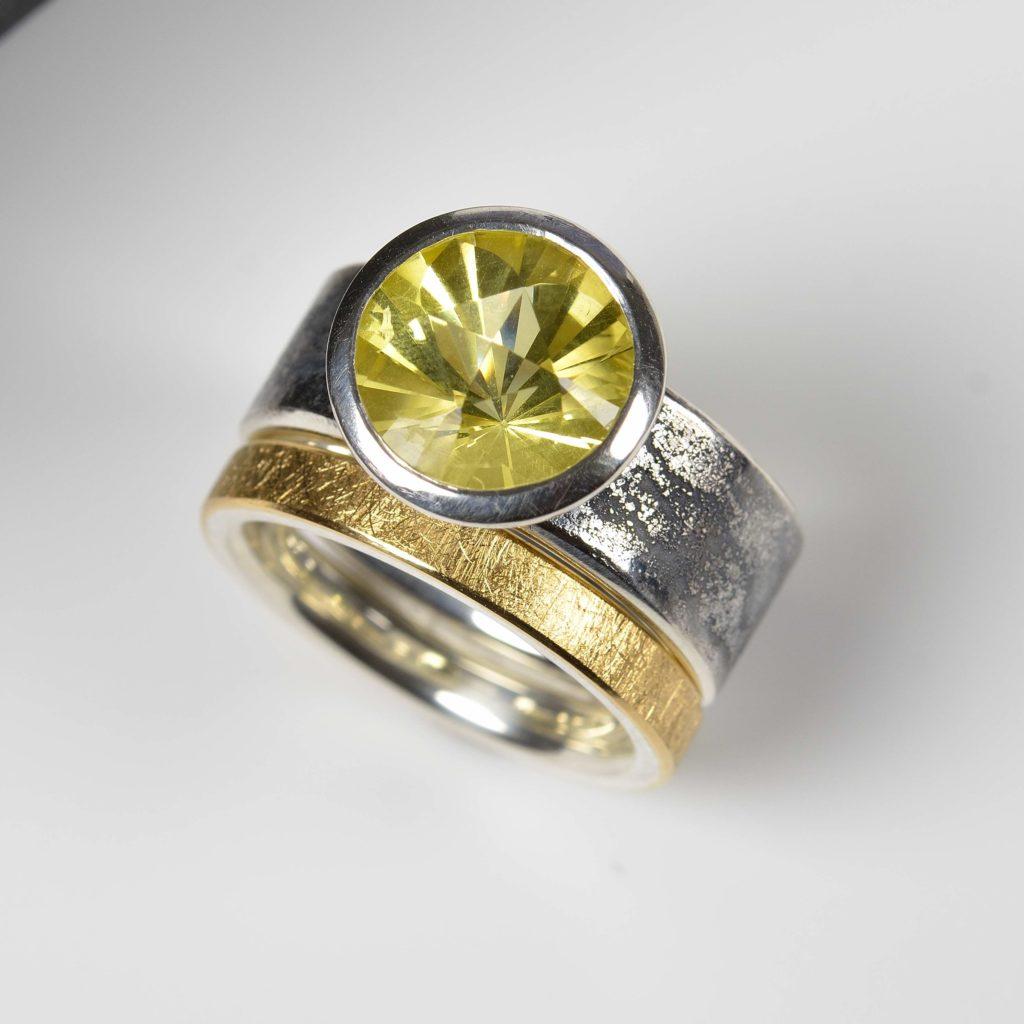 sterling silver and platinum with lemon quartz