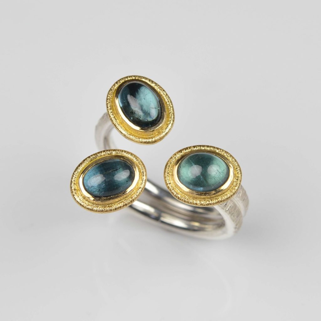 sterling silver and 18ct gold ring with tourmalines