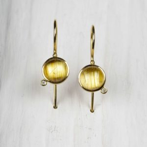 18ct gold earrings with rutile quartz diamonds