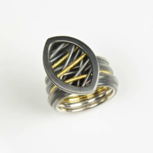 sterling silver and 22ct gold ring