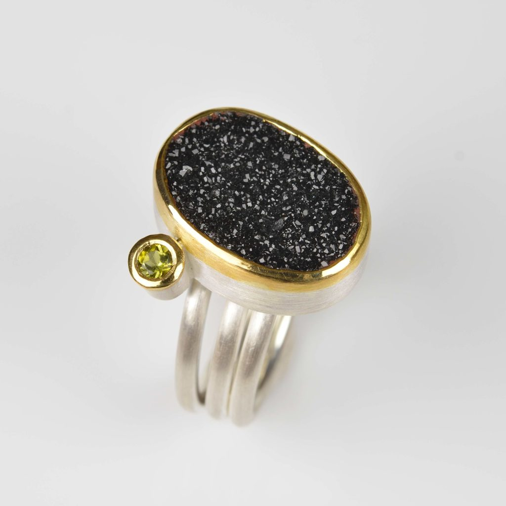 sterling silver and 22ct gold ring with crystallised onyx and tourmaline