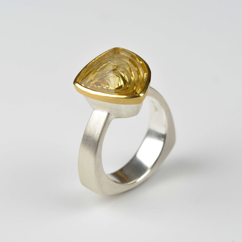 sterling silver and 22ct gold ring with citrine