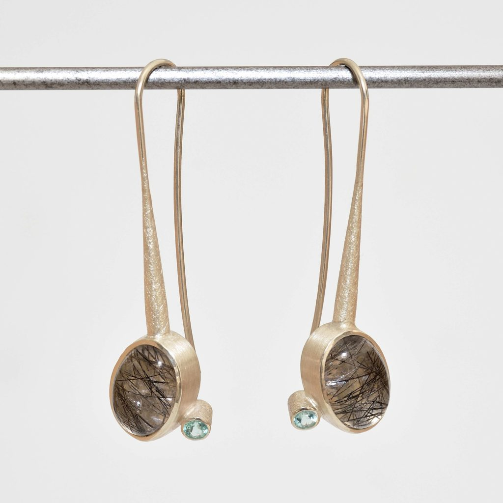 sterling silver earrings with rutile quartz and apatites