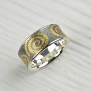 oxidised sterling silver and fine gold ring