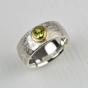 sterling silver and 18ct gold ring with peridot