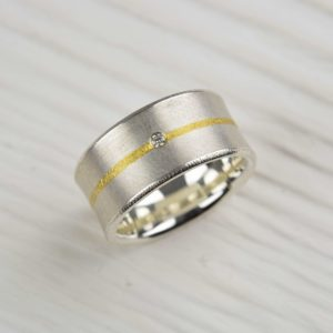 sterling silver and fused fine gold ring with diamond