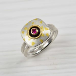 sterling silver, 18ct gold and fine gold ring with ruby