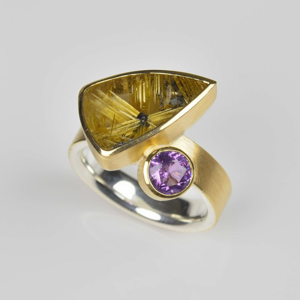 18ct gold and sterling silver ring with star rutile quartz and spinel