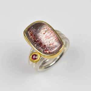 sterling silver and 22ct gold ring with stawberry quartz and ruby