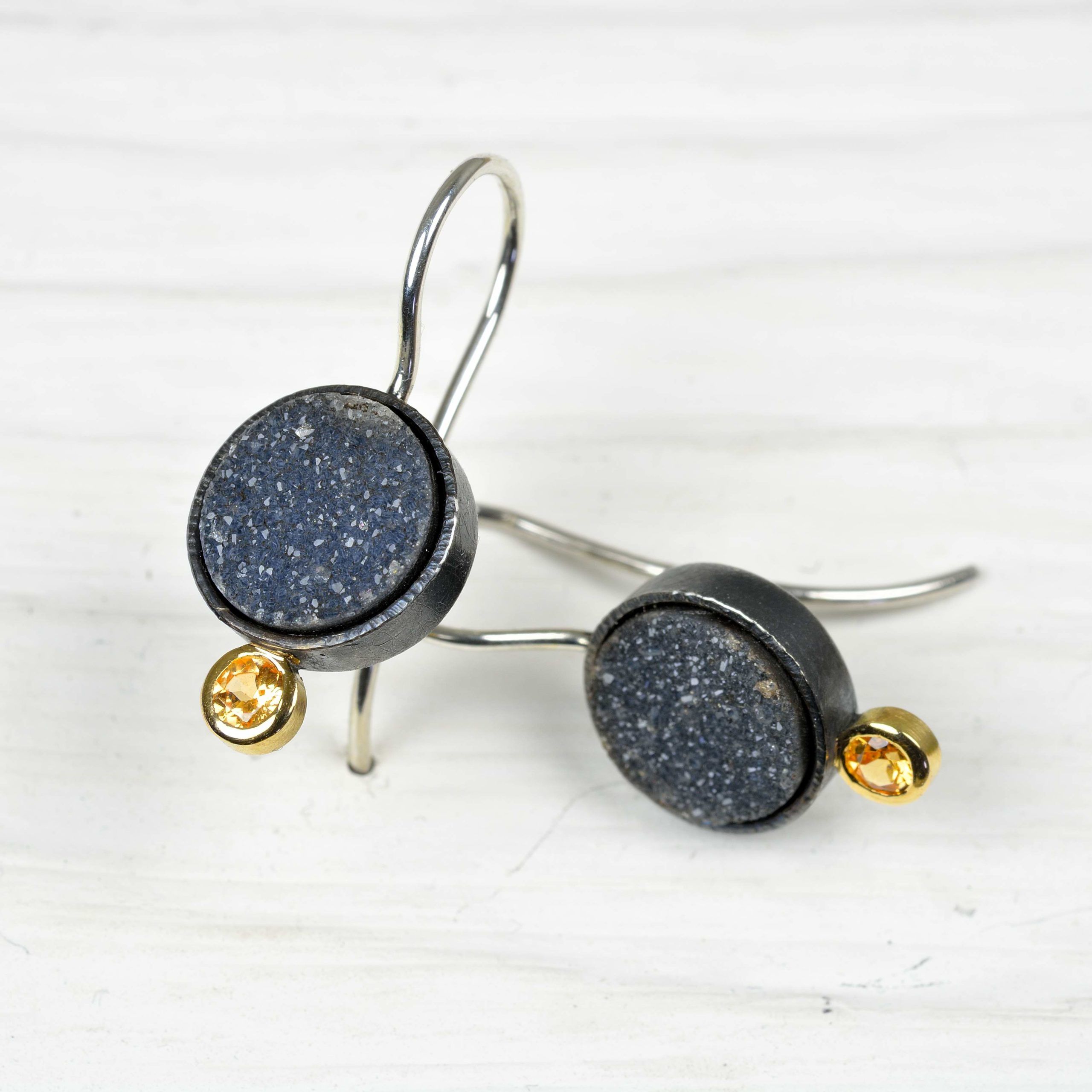 sterling silver and 18ct gold earrings with drusy and mandarine garnet