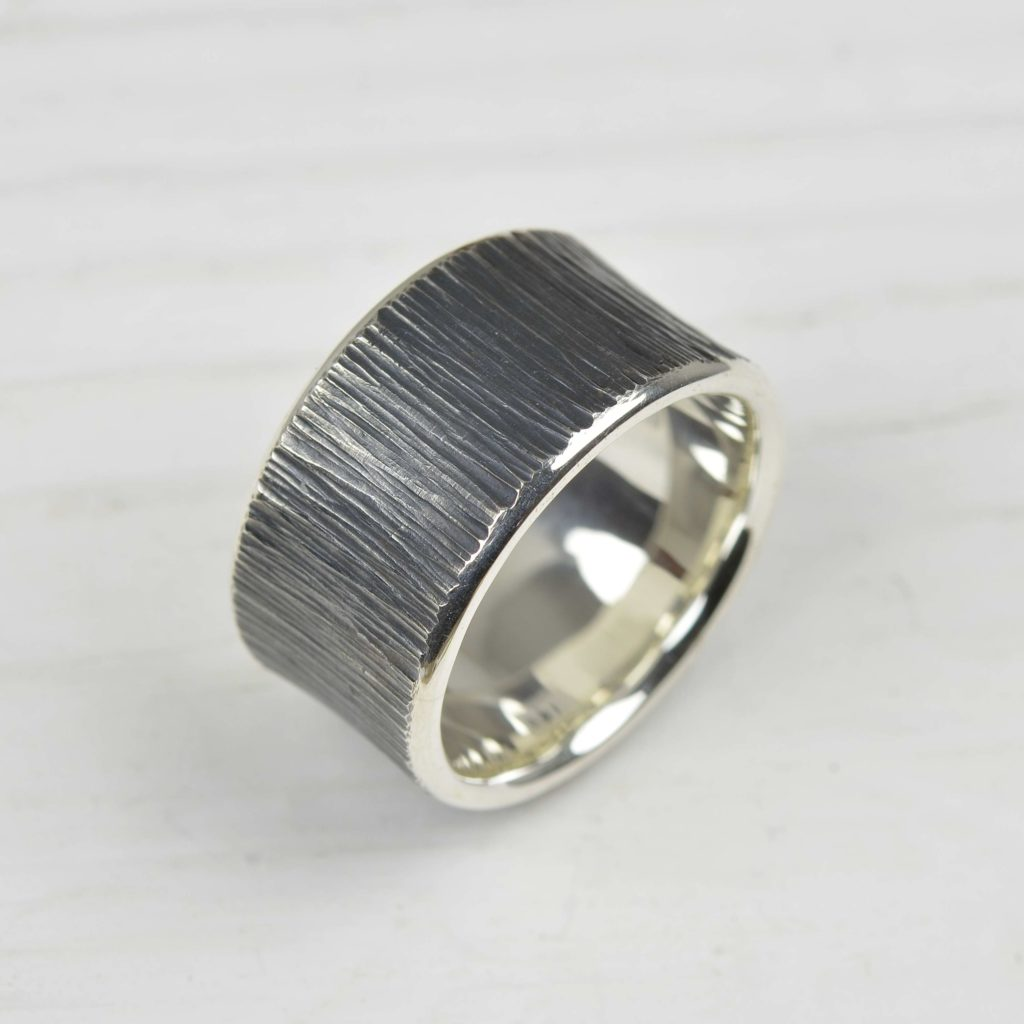 oxidised sterling silver ring