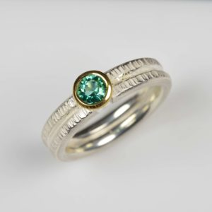 sterling silver and 18ct gold ring with tourmaline
