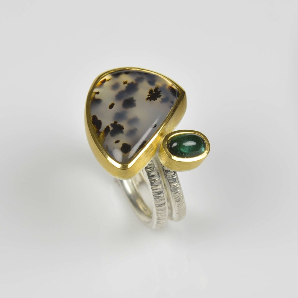 sterling silver and 22ct gold ring with dentritic agate and tourmaline