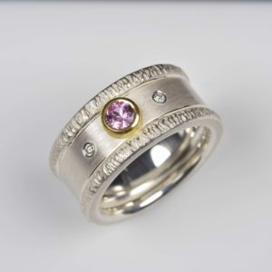 sterling silver and 18ct gold ring with pink sapphire and diamonds