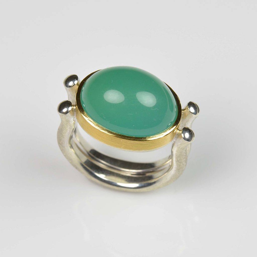 sterling silver and 22ct gold ring with chrome chalcedony