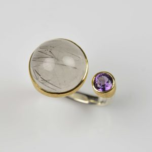 sterling silver and 22ct gold ring with rutile quartz and spinel