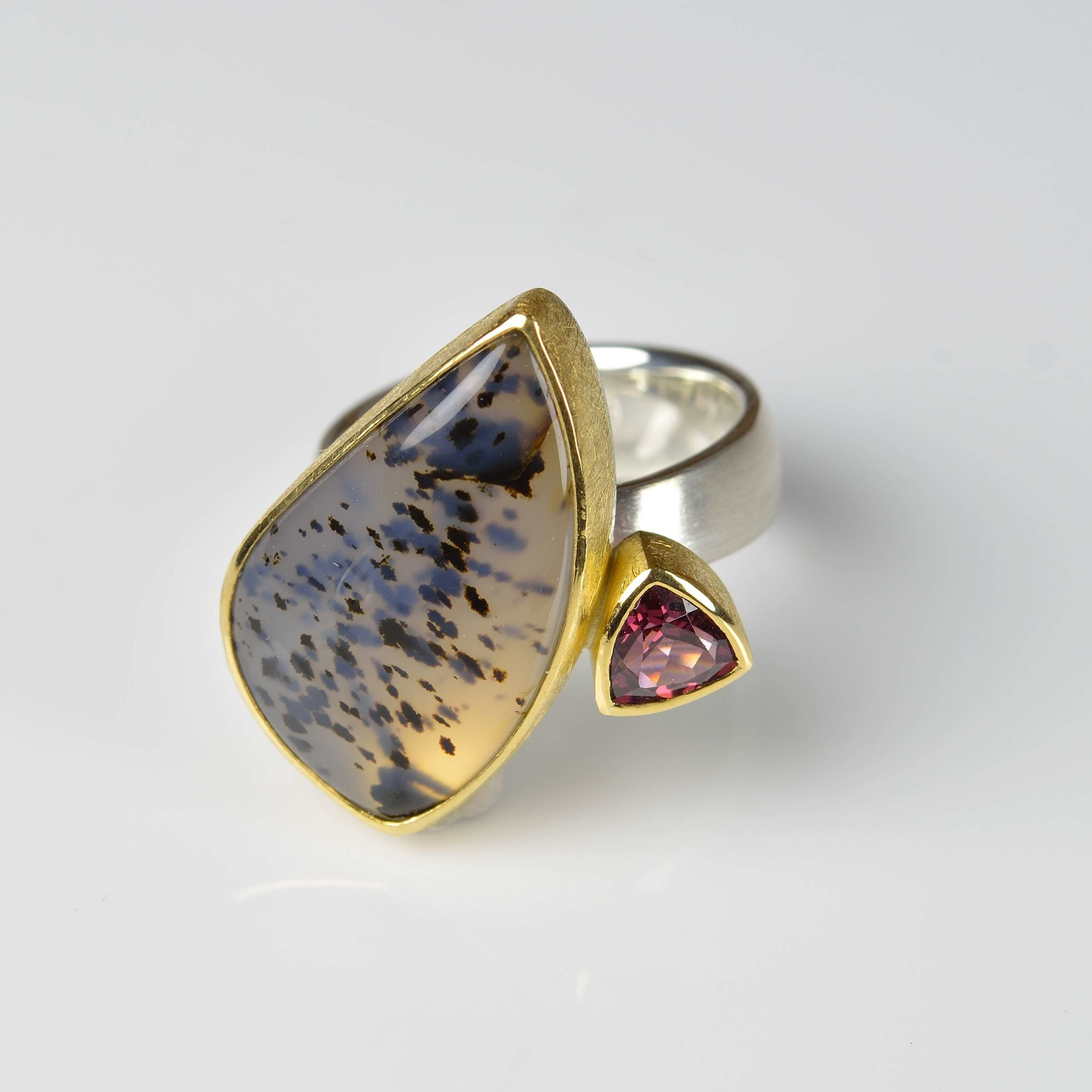 sterling silver and 22ct gold ring with dentritic agate and rhodolite