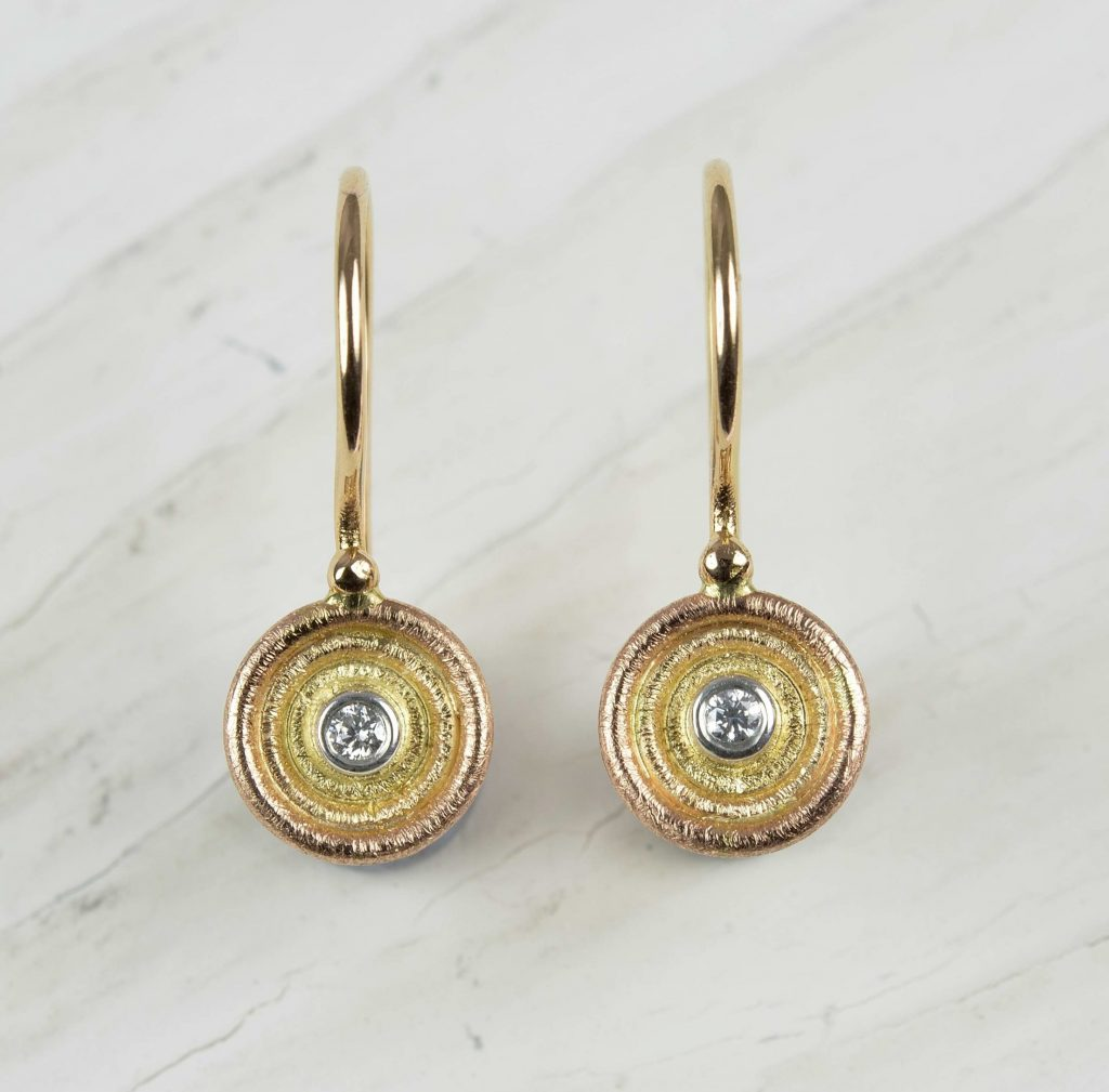 18ct red, rose yellow and white gold earrings with diamonds
