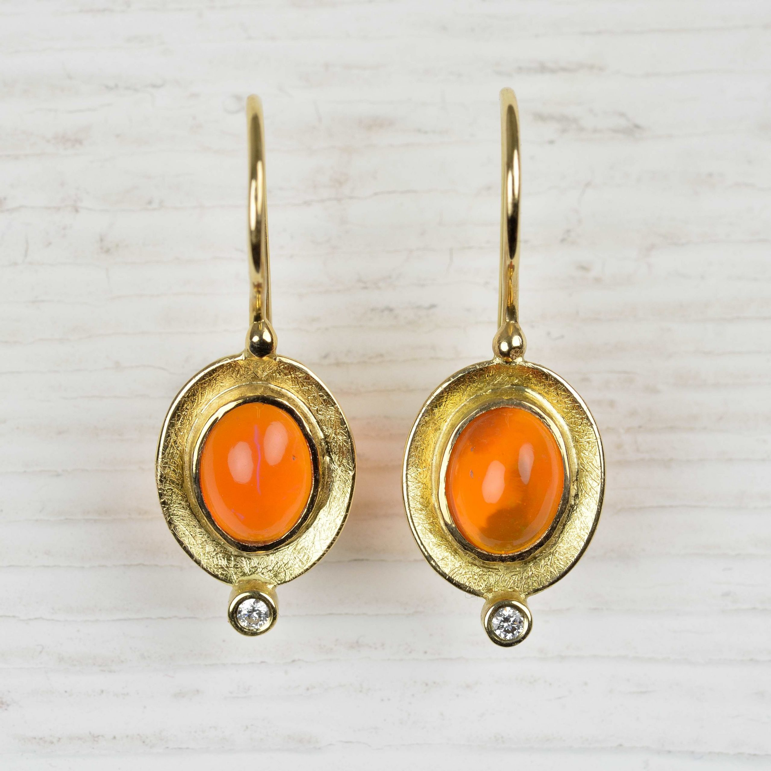 18ct gold earrings with fire opal and diamonds