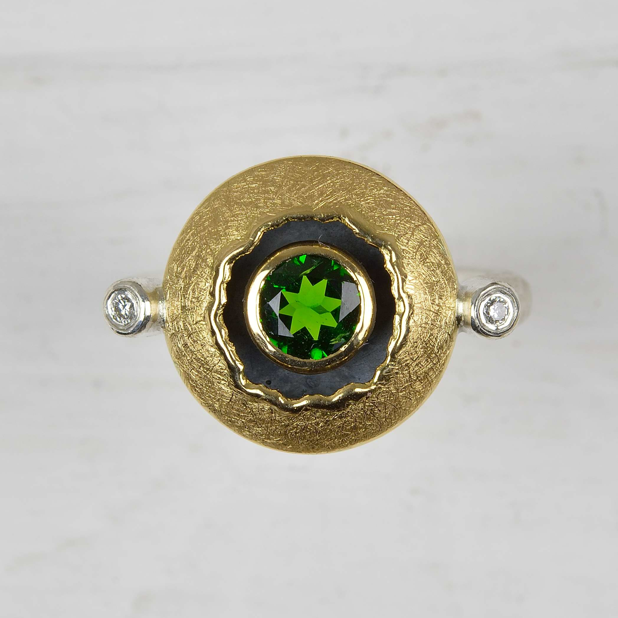 sterling silver and 18ct gold ring with chrome diopside and diamonds