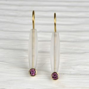 18ct gold earrings with rhodolite and rock crystal quartz