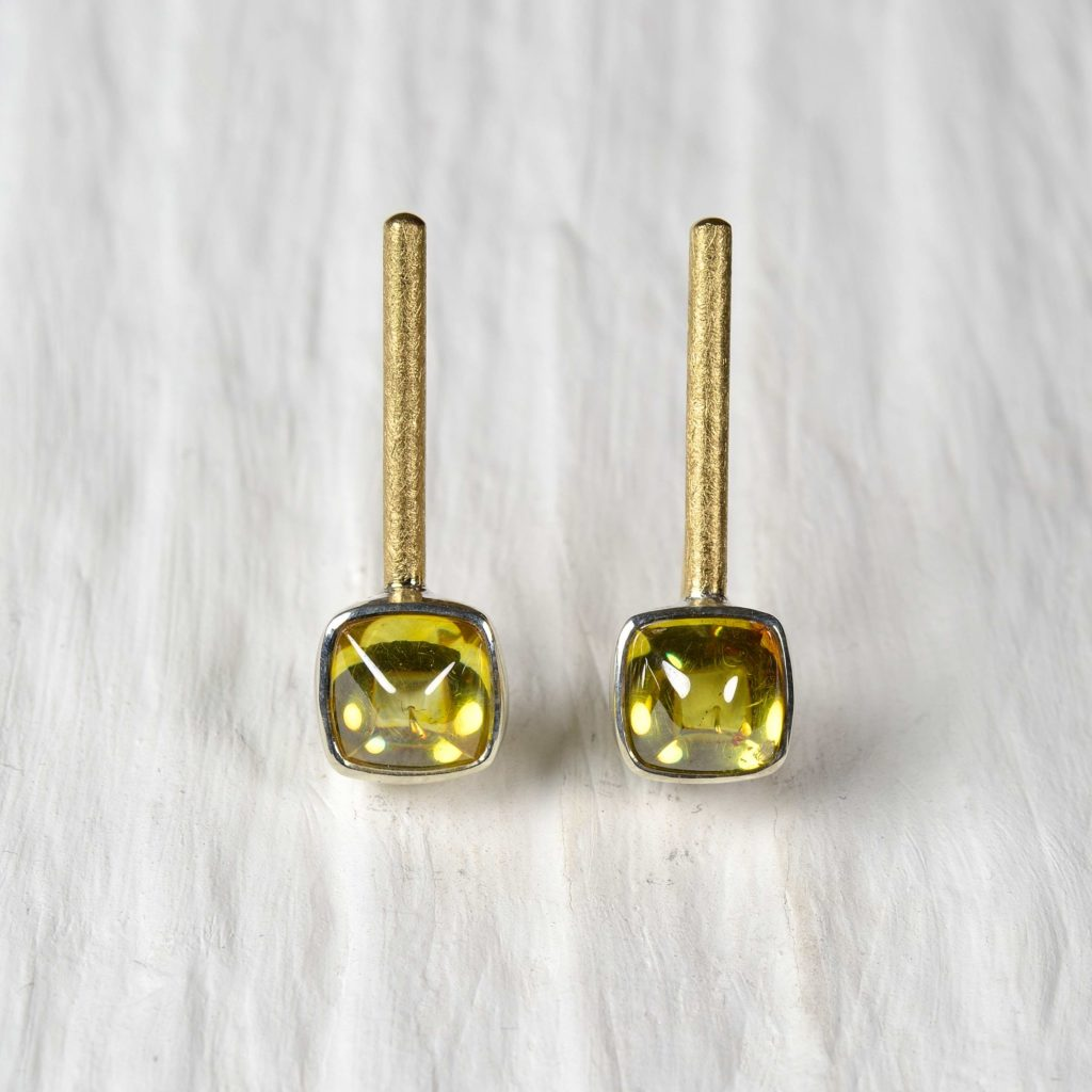 18ct gold and sterling silver earrings with sphalerites