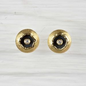 18ct gold and sterling silver studs with diamonds