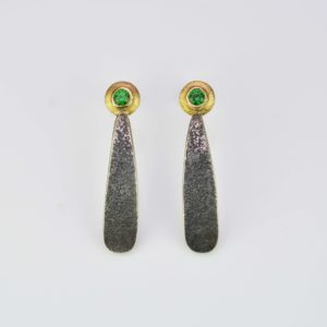 sterling silver, platinum and 18ct gold earrings with tsavorites