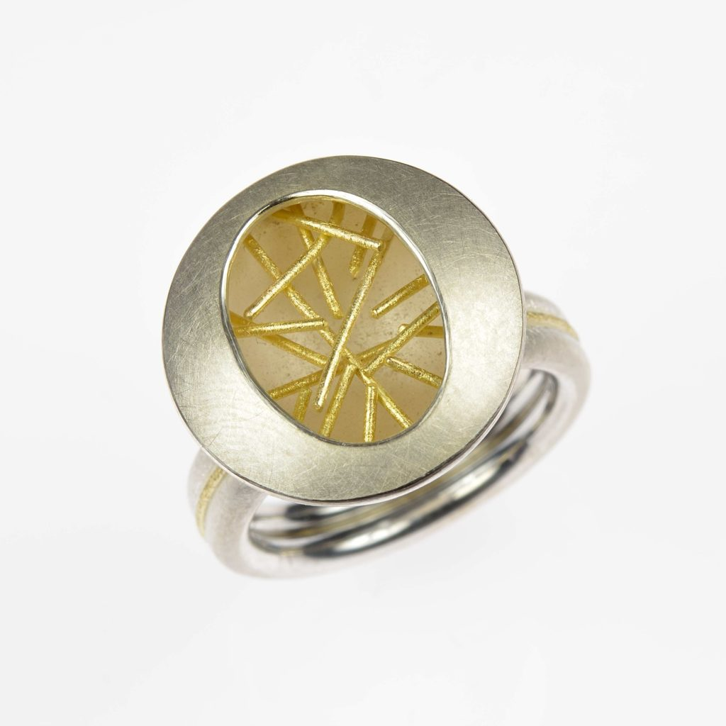 sterling silver and 18ct gold ring