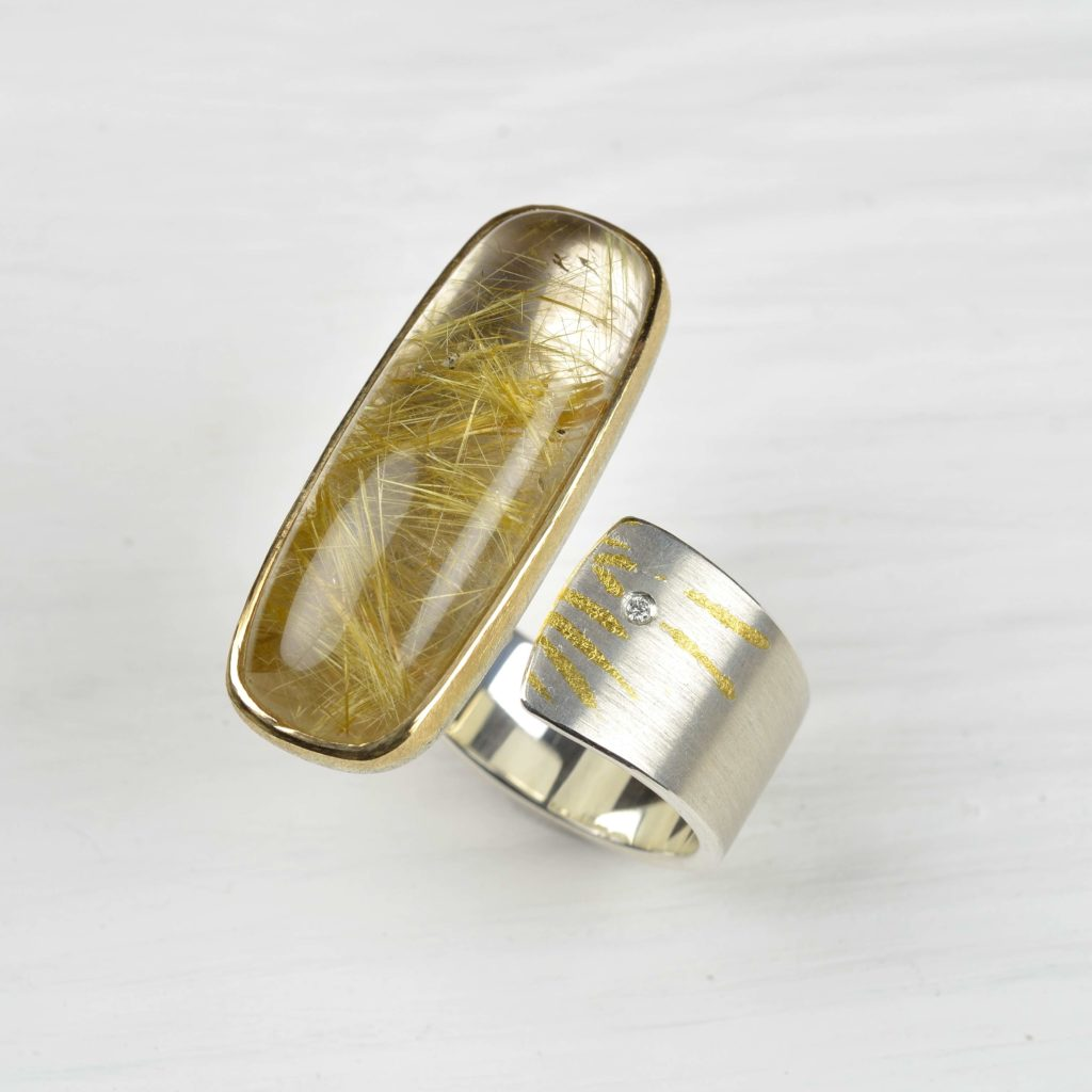 sterling silver and finegold ring with rutilated quartz ring