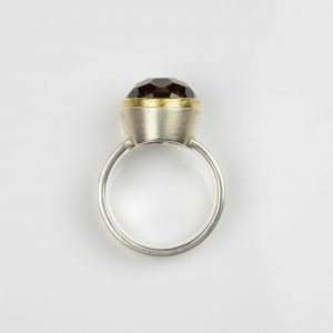 sterling silver and 18ct gold ring with smokey quartz