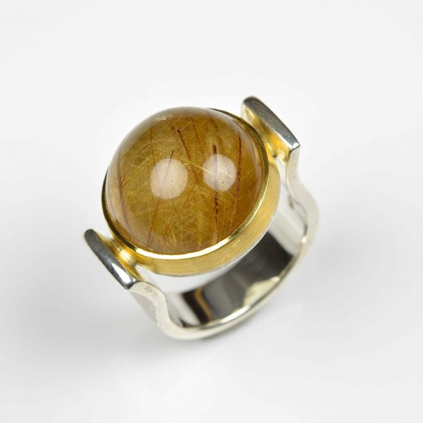 Sterling silver and 22ct gold ring with rutile quartz
