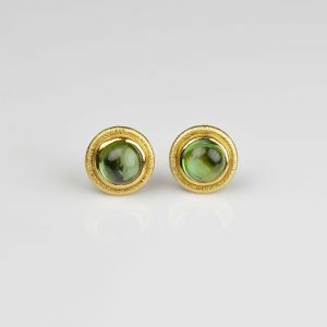 18ct gold studs with tourmalines