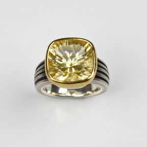 sterling silver and 22ct gold ring with lemon quartz